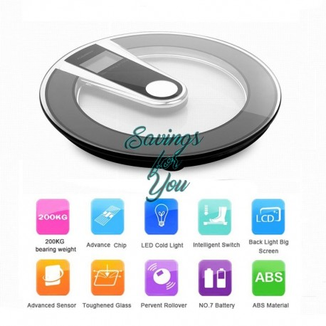 Digital Electronic LCD Personal Glass Bathroom Body Weight Weighing Scale